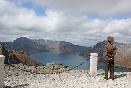 Soldier on Mount Paektu in North Korea looking out over Lake Chon in Sept 2011.