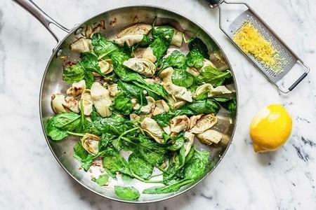 Spinach Artichoke Pasta add the spinach