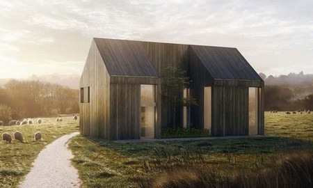 Rendering of wood house in the countryside