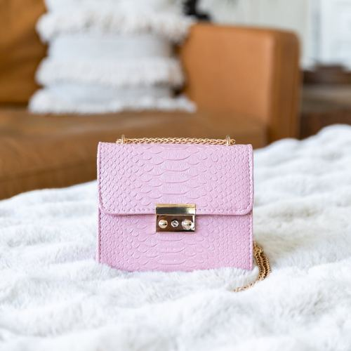 Pink Faux Snakeskin Crossbody Bag, $14