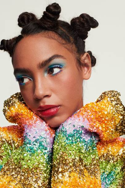 Meet the catwalk makeup queen with the best glitter and rainbow lash hacks