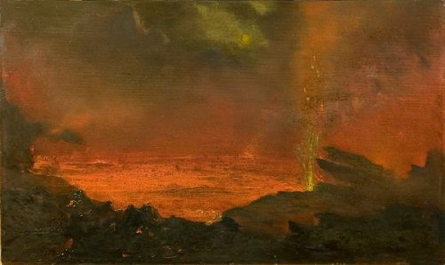 david howard hitchcocks oil painting halemaumau lake of fire 1888 Bloody facts about the real Dracula: Vlad the Impaler (15 Photos)