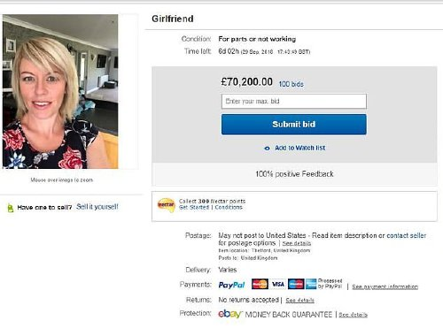 a Guy tries to sell girlfriend on eBay as prank, panics as bids hit $119,000