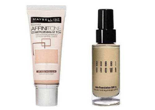 Тональный крем Affinitone, Maybelline New York и тональный крем Skin Foundation, Bobbi Brown