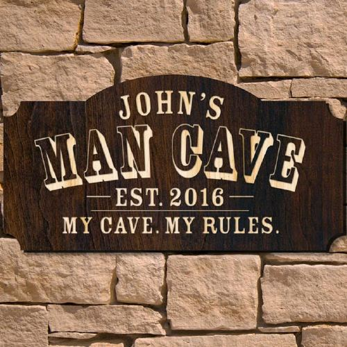 A Customized Wooden Man Cave Sign