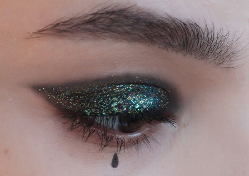 Bright eye makeup for Halloween