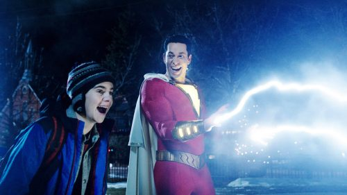 SHAZAM!, from left: Jack Dylan Grazer, Zachary Levi (as Shazam), 2019