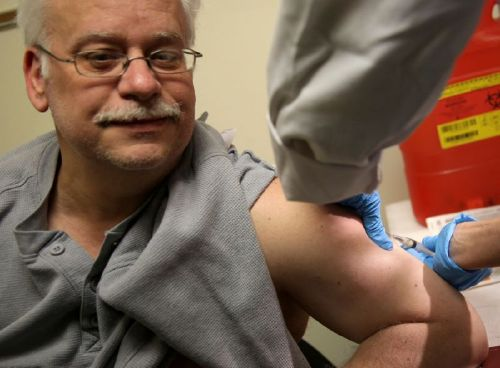 Steve Sierzega receives a measles, mumps and rubella vaccine at the Rockland County