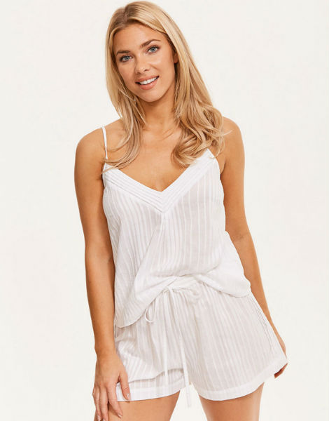 Figleaves Cotton Stripe Pintuck Cami and Short Set