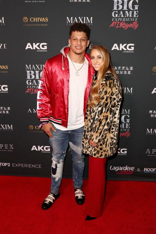 Patrick Mahomes with Brittany Matthews at the Maxim Big Game Experience