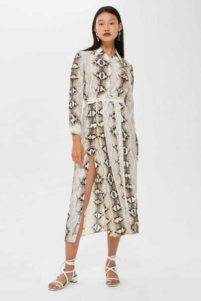 Literally everyone is wearing this animal-print Topshop dress right now