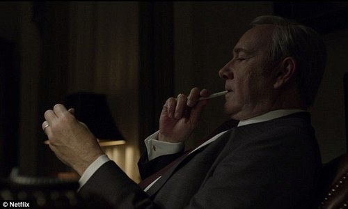 Researchers said the 2016 season of House of Cards featured 45 incidents of characters (Kevin Spacey pictured) smoking cigarettes