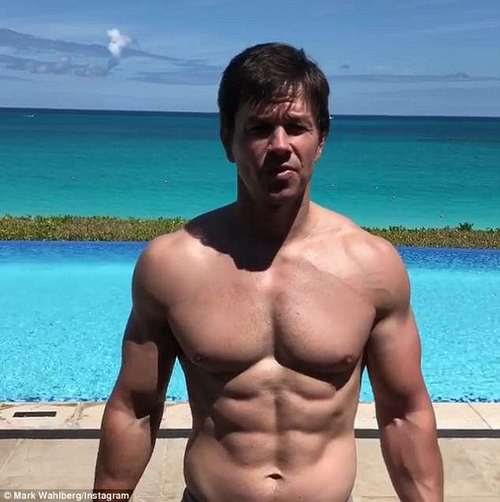 Mark Wahlberg looks every inch the Hollywood superhero, proving that at 46 he is as dedicated to the gym as ever