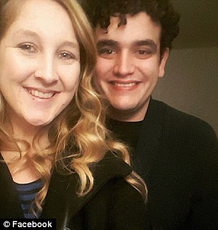 Both she and her boyfriend, pictured, seemed to be okay after the crash