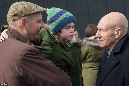 Sir Patrick uses cannabis to help treat his arthritis while living in California and says 'there has never been a stronger case for legalisation' than Alfie (pictured with his father Drew Dingley)