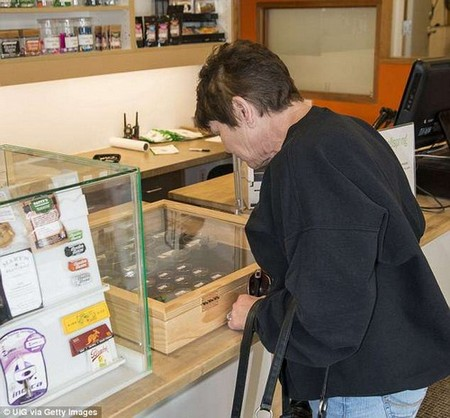 Four in five adults support marijuana for medical use, according to a poll of more than 2,000 Americans between ages 50 and 80. An older women is pictured at a marijuana dispensary in Colorado, one of the first states to legalize medical marijuana in 2000