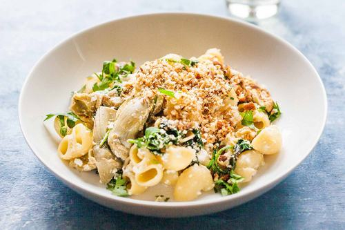 Pasta with Artichoke Hearts and Spinach