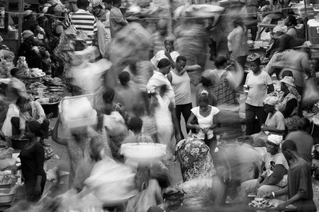 Crowd at a market in Ghana