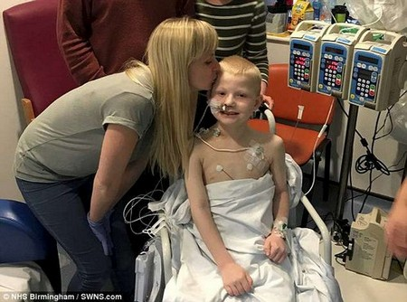 Jay Crouch (pictured with his mother Katie Freestone, 28)is one of the youngest patients in Britain to undergo a multi-transplant operation to replace five organs from a single donor