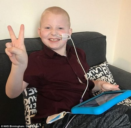 After a grueling four weeks in hospital, Jay has been allowed home to recover with his family