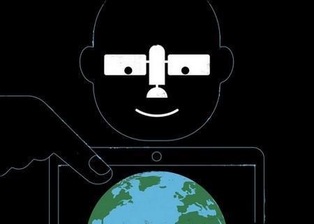 Cartoon illustration of a satellite over Earth