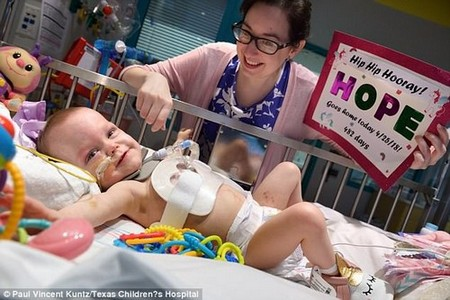 Hope was all smiles on Wednesday when she was discharged after 482 days in the hospital