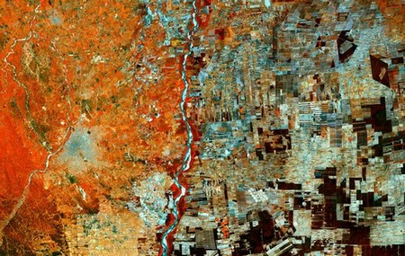 Satellite view of an area of Boliva