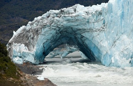 Ice falling from a glacier