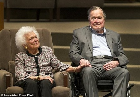President George H.W. Bush was hospitalized with a blood infection last night, days after the funeral of his wife of 73 years Barbara Bush (pictured together at an awards ceremony in 2017)