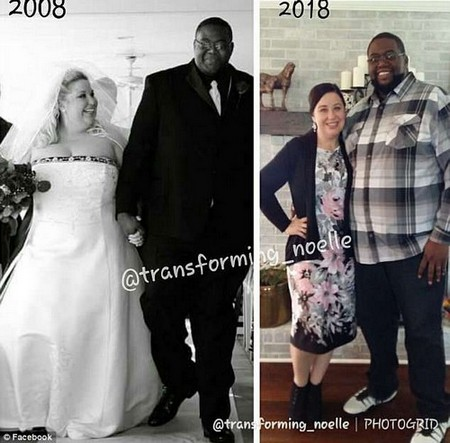 Before and after: Noelle (pictured with her husband, Chris) lost weight by following a low-carb, high-protein diet and making exercise a part of her regular routine