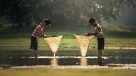 Two boys fishing with nets