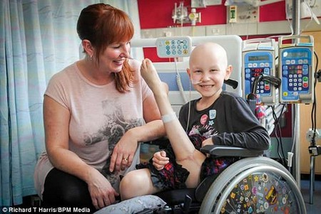 Amelia, pictured with mum Michelle, was diagnosed with osteosarcoma in August last year and had to have 15 weeks of chemotherapy plus an operation to amputate her left leg