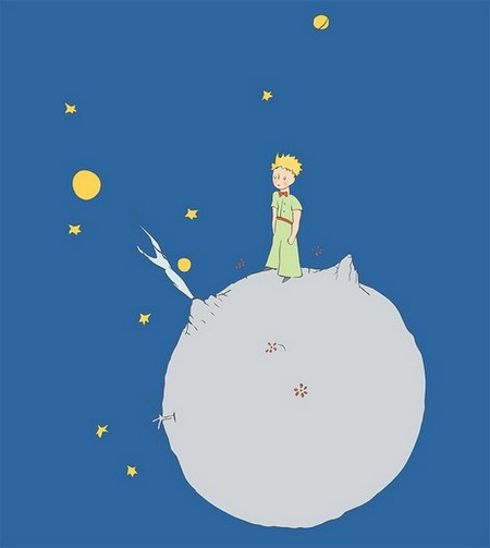 Cover image from 'Le Petit Prince': Illustration of a blonde boy in green standing on a tiny grey planet.