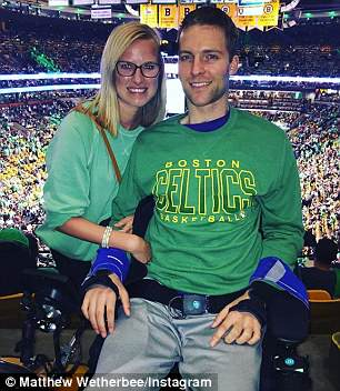Matt is pictured with Kaitlyn at a basketball game after the accident