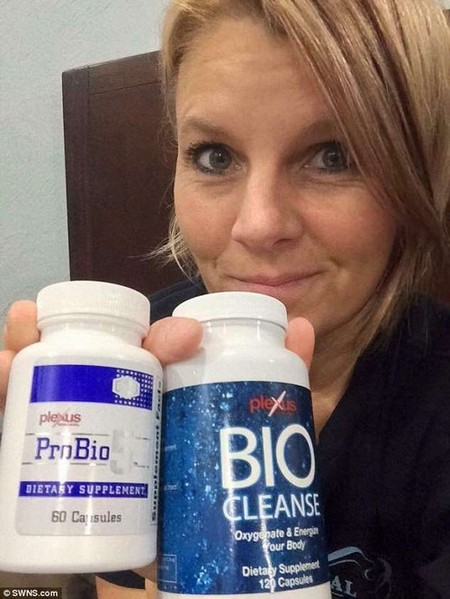 Relief at last:It wasn't until Connie discovered probiotic digestion aids Plexus ProBio5 and Biocleanse (pictured) that her symptoms subsided