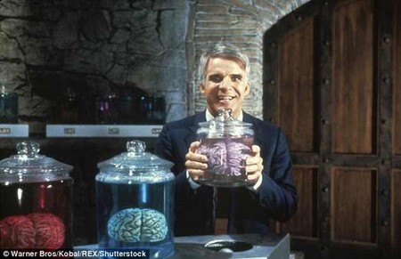 The brains of pigs survived for up to 36 hours after the animals had been decapitated. The results could one day lead to human brains that can live outside the body, a long fascination of science fiction - including the 1983 film 'The Man With Two Brains' (pictured)