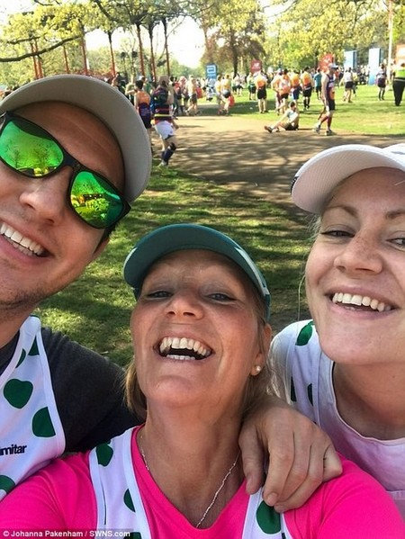 Ms Pakenham (centre) has little memory of taking photos during the race or finishing it