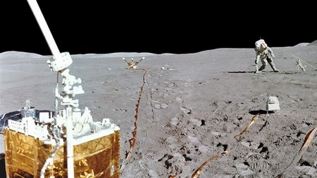 Apollo 15 astronaut carries out experiments on the surface of the Moon