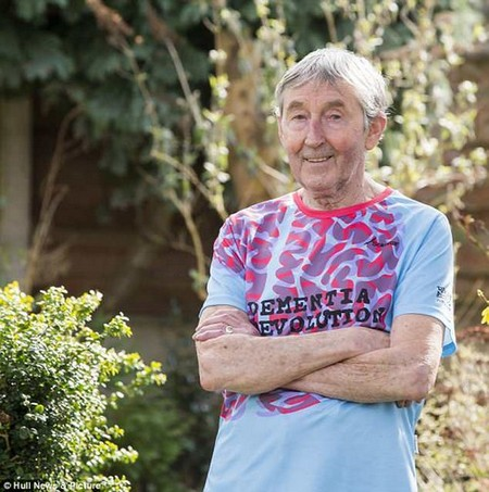 Runner Ron Hill wears a Dementia Revolution t-shirt now