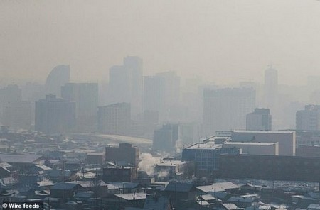 Residents of Mongolia are drinking 'oxygen cocktails' and 'lung tea' to help protect themselves from air pollution (pictured: Ulaanbaatar, the most polluted capital city in the world)