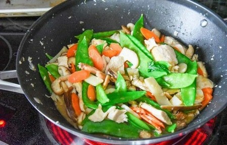 Chicken and Mushroom Stir Fry cook until sauce thickens