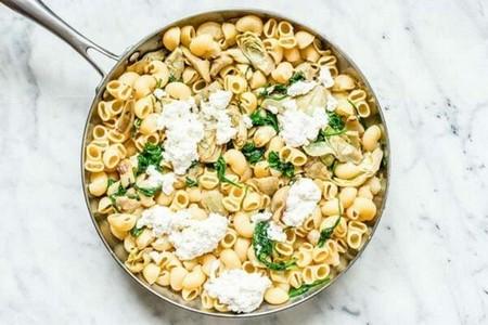 Spinach Artichoke Pasta add the ricotta and combine