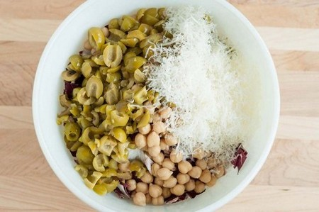 Radicchio Salad with Green Olives, Chickpeas, and Parmesan