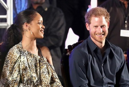 BRIDGETOWN, BARBADOS - NOVEMBER 30: Prince Harry and singer Rihanna attend a Golden Anniversary Spectacular Mega Concert at the Kensington Oval Cricket Ground on day 10 of an official visit to the Caribbean on November 30, 2016 in Bridgetown, Barbados. Prince Harry's visit to The Caribbean marks the 35th Anniversary of Independence in Antigua and Barbuda and the 50th Anniversary of Independence in Barbados and Guyana. (Photo by Chris Jackson/)