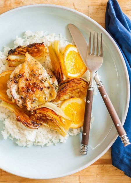 Skillet Roast Chicken with Fennel and Orange