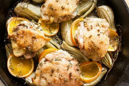Roast Chicken Thighs with Fennel and Orange