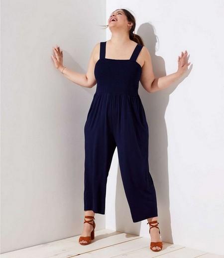 Smocked Wide Leg Jumpsuit, $89.50, available at Loft Plus.