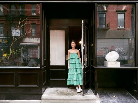 Karlin lingers in the deep-plum-lacquered doorway of her new atelier. She has plans to fill the storefront windows with artful assemblages.