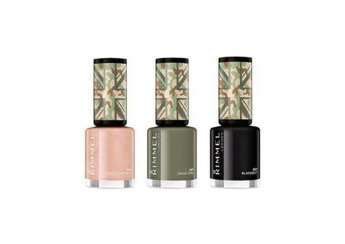 Лаки для ногтей 500 Desert Disguise, 465 Camo Girl, 801 Blackout, Rimmel