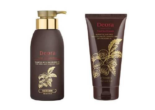 Грязевой комплекс с маслом макадамии для окрашенных и поврежденных волос (шампунь и маска), Deora